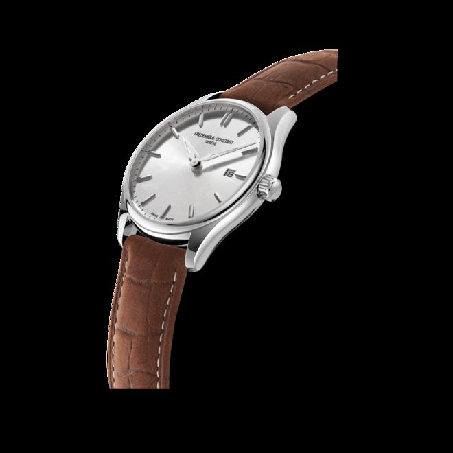 Herrenuhr Frederique Constant Classics Quartz Gent 40mm mit silberfarbenem Zifferblatt und Kalbsleder-Armband bei Brogle