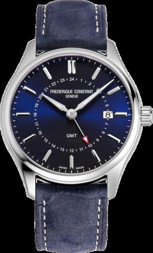 Herrenuhr Frederique Constant Classics Quartz GMT mit blauem Zifferblatt und Kalbsleder-Armband