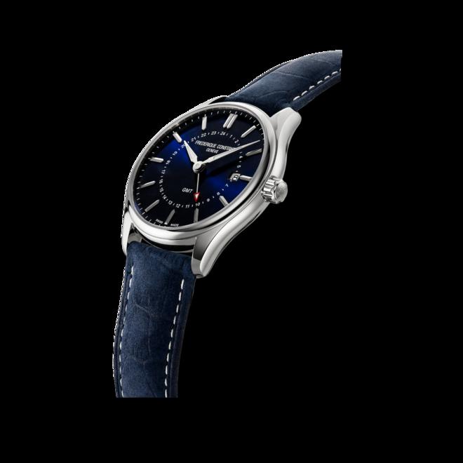 Herrenuhr Frederique Constant Classics Quartz GMT mit blauem Zifferblatt und Kalbsleder-Armband bei Brogle