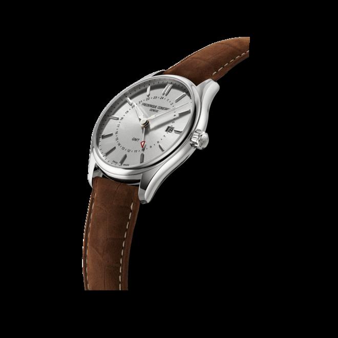Herrenuhr Frederique Constant Classics Quartz GMT mit silberfarbenem Zifferblatt und Kalbsleder-Armband bei Brogle