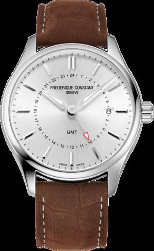 Herrenuhr Frederique Constant Classics Quartz GMT mit silberfarbenem Zifferblatt und Kalbsleder-Armband