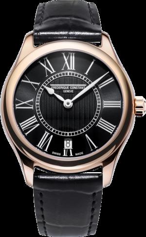Damenuhr Frederique Constant Classics Quartz Ladies mit schwarzem Zifferblatt und Kalbsleder-Armband