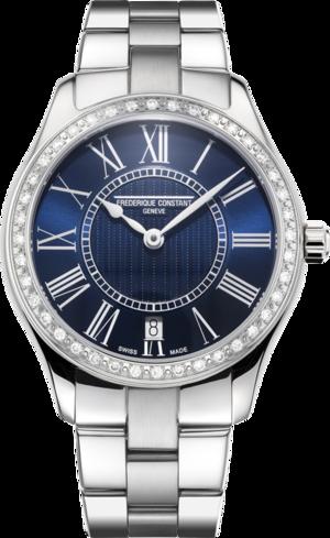 Damenuhr Frederique Constant Classics Quartz Ladies mit Diamanten, blauem Zifferblatt und Edelstahlarmband