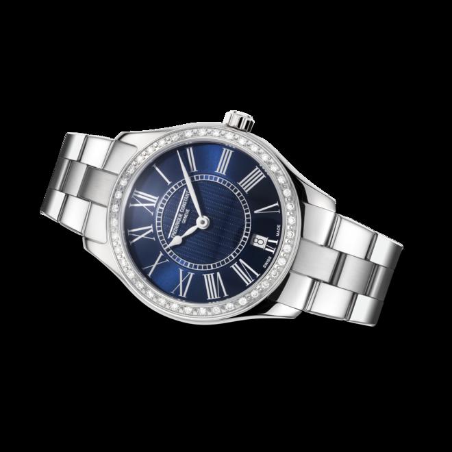 Damenuhr Frederique Constant Classics Quartz Ladies mit Diamanten, blauem Zifferblatt und Edelstahlarmband bei Brogle