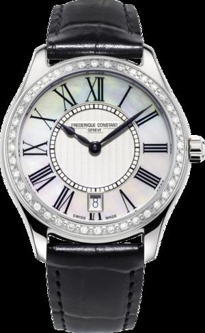 Damenuhr Frederique Constant Classics Quartz Ladies mit Diamanten, perlmuttfarbenem Zifferblatt und Kalbsleder-Armband