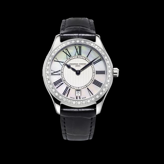 Damenuhr Frederique Constant Classics Quartz Ladies mit Diamanten, perlmuttfarbenem Zifferblatt und Kalbsleder-Armband bei Brogle