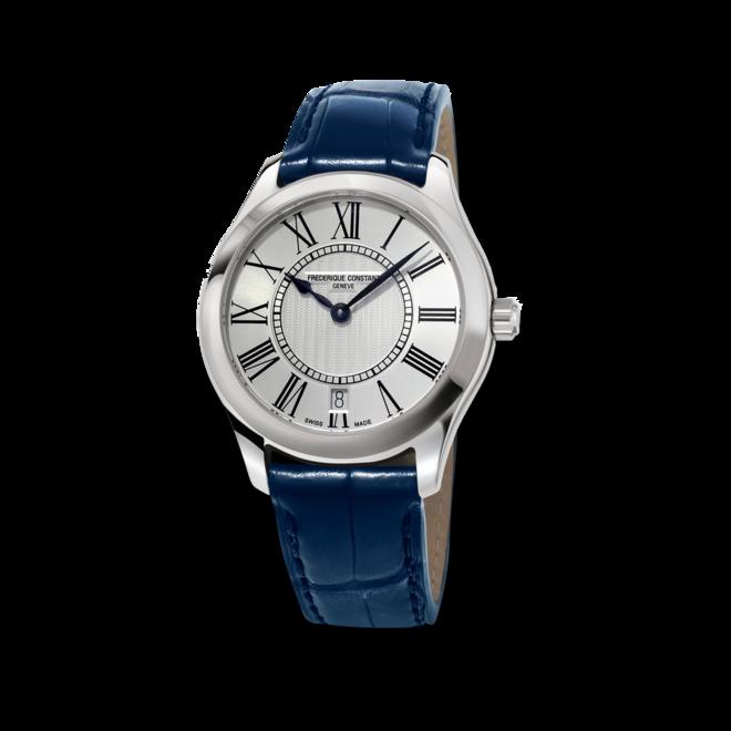 Damenuhr Frederique Constant Classics Quartz Ladies mit silberfarbenem Zifferblatt und Kalbsleder-Armband bei Brogle