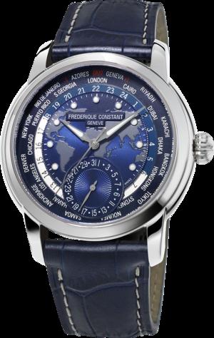 Herrenuhr Frederique Constant Classics Worldtimer Manufacture mit blauem Zifferblatt und Alligatorenleder-Armband