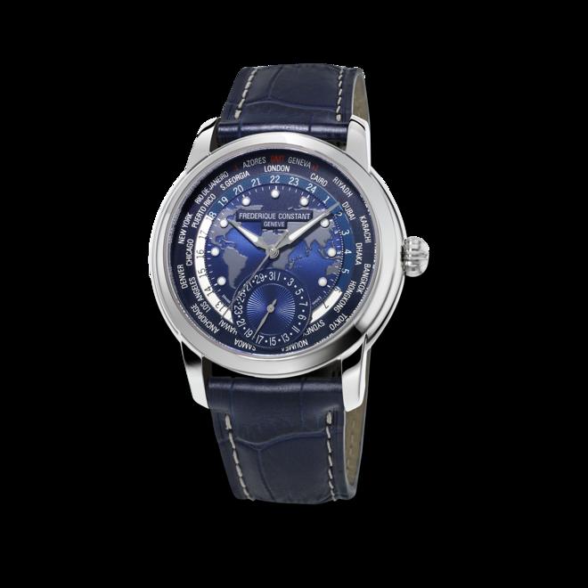 Herrenuhr Frederique Constant Classics Worldtimer Manufacture mit blauem Zifferblatt und Alligatorenleder-Armband bei Brogle