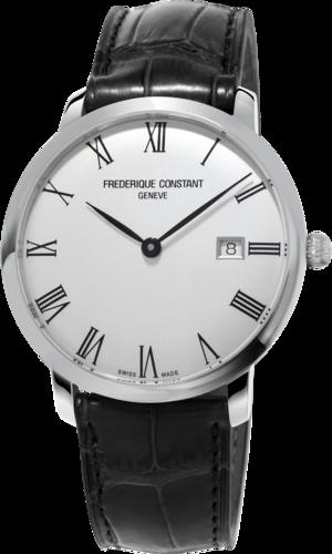 Herrenuhr Frederique Constant Slimline Automatic 40mm mit silberfarbenem Zifferblatt und Armband aus Kalbsleder mit Krokodilprägung