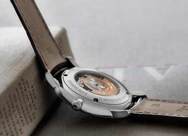 Herrenuhr Frederique Constant Slimline Automatic 40mm mit silberfarbenem Zifferblatt und Armband aus Kalbsleder mit Krokodilprägung bei Brogle