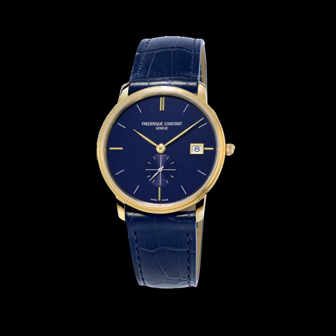 Herrenuhr Frederique Constant Slimline Gents Small Seconds 37mm mit blauem Zifferblatt und Kalbsleder-Armband bei Brogle