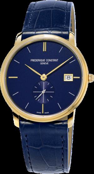 Herrenuhr Frederique Constant Slimline Gents Small Seconds 37mm mit blauem Zifferblatt und Kalbsleder-Armband