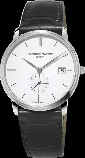 Herrenuhr Frederique Constant Slimline Gents Small Seconds mit weißem Zifferblatt und Kalbsleder-Armband