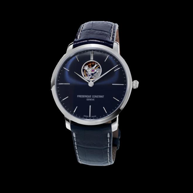 Herrenuhr Frederique Constant Slimline Heart Beat Automatic mit blauem Zifferblatt und Kalbsleder-Armband bei Brogle