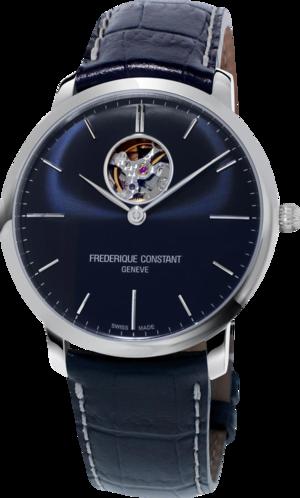 Herrenuhr Frederique Constant Slimline Heart Beat Automatic mit blauem Zifferblatt und Kalbsleder-Armband