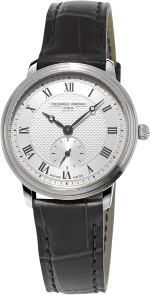 Damenuhr Frederique Constant Slimline Ladies Small Seconds mit silberfarbenem Zifferblatt und Kalbsleder-Armband