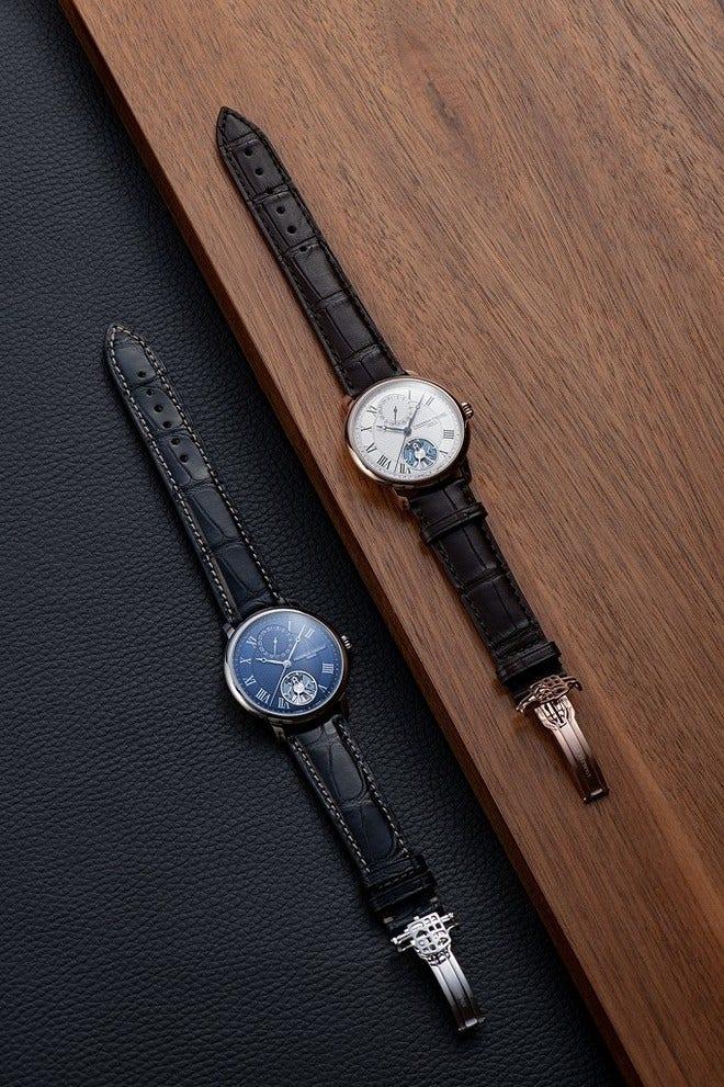 Herrenuhr Frederique Constant Slimline Monolithic Manufacture mit blauem Zifferblatt und Alligatorenleder-Armband bei Brogle