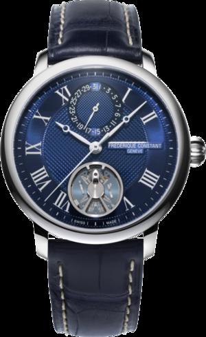 Herrenuhr Frederique Constant Slimline Monolithic Manufacture mit blauem Zifferblatt und Alligatorenleder-Armband