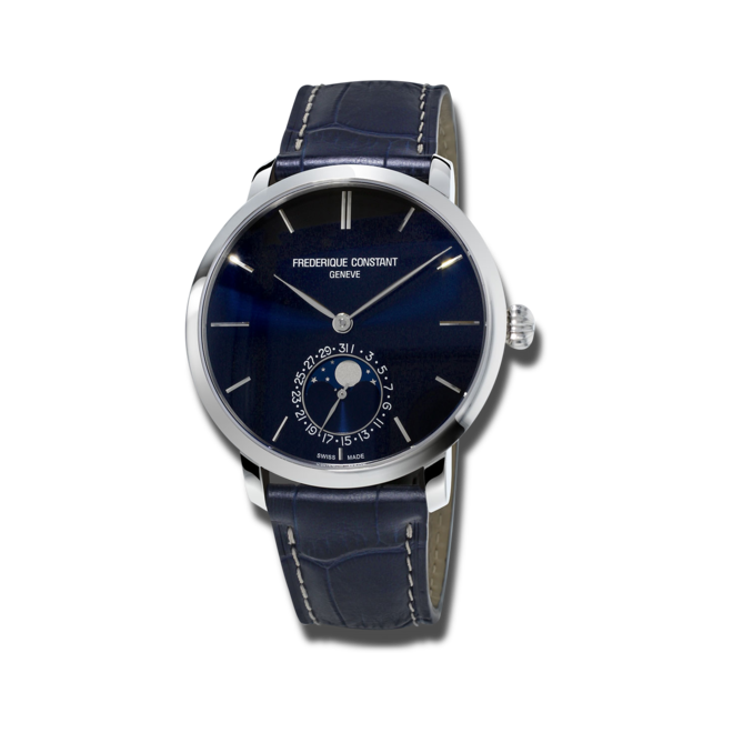 Herrenuhr Frederique Constant Slimline Moonphase Manufacture mit blauem Zifferblatt und Alligatorenleder-Armband bei Brogle