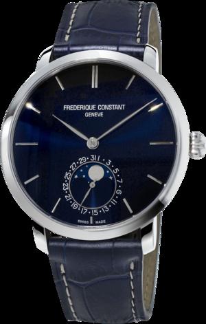 Herrenuhr Frederique Constant Slimline Moonphase Manufacture mit blauem Zifferblatt und Alligatorenleder-Armband