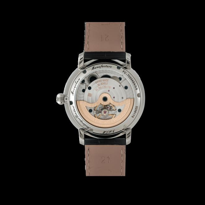 Herrenuhr Frederique Constant Slimline Moonphase Manufacture mit weißem Zifferblatt und Alligatorenleder-Armband bei Brogle