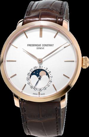 Herrenuhr Frederique Constant Slimline Moonphase Manufacture mit weißem Zifferblatt und Alligatorenleder-Armband