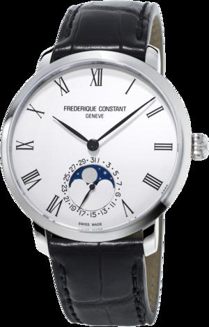 Herrenuhr Frederique Constant Slimline Moonphase Manufacture mit silberfarbenem Zifferblatt und Alligatorenleder-Armband