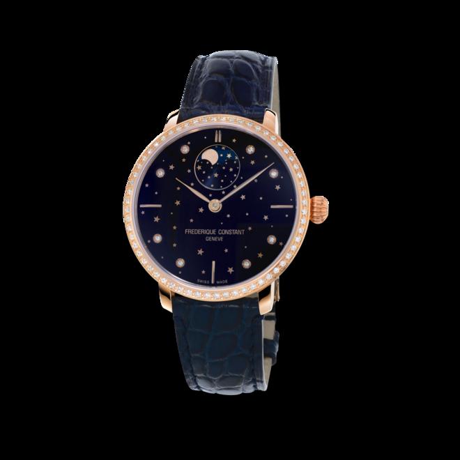 Damenuhr Frederique Constant Slimline Moonphase Stars Manufacture mit Diamanten, blauem Zifferblatt und Alligatorenleder-Armband bei Brogle