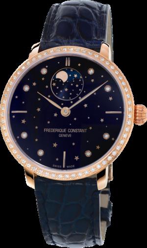 Damenuhr Frederique Constant Slimline Moonphase Stars Manufacture mit Diamanten, blauem Zifferblatt und Alligatorenleder-Armband