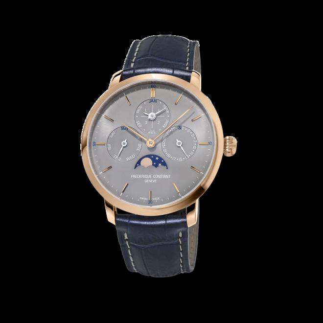 Herrenuhr Frederique Constant Slimline Perpetual Calendar Manufacture mit grauem Zifferblatt und Alligatorenleder-Armband bei Brogle