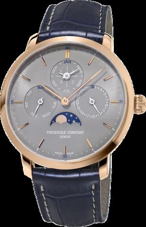 Herrenuhr Frederique Constant Slimline Perpetual Calendar Manufacture mit grauem Zifferblatt und Alligatorenleder-Armband