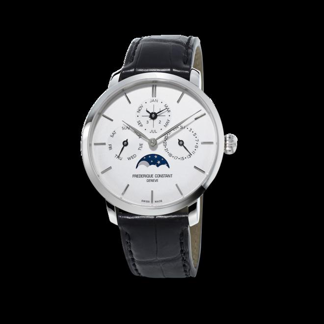 Herrenuhr Frederique Constant Slimline Perpetual Calendar Manufacture mit silberfarbenem Zifferblatt und Alligatorenleder-Armband bei Brogle