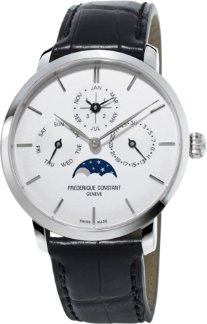 Herrenuhr Frederique Constant Slimline Perpetual Calendar Manufacture mit silberfarbenem Zifferblatt und Alligatorenleder-Armband