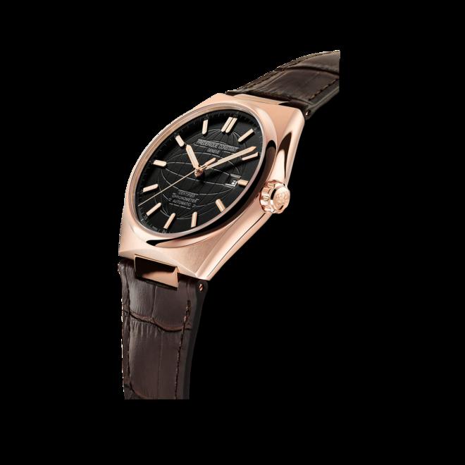 Herrenuhr Frederique Constant Highlife Automatic COSC 41mm mit schwarzem Zifferblatt und Kalbsleder-Armband bei Brogle