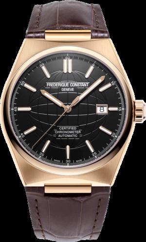 Herrenuhr Frederique Constant Highlife Automatic COSC 41mm mit schwarzem Zifferblatt und Kalbsleder-Armband