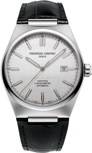 Herrenuhr Frederique Constant Highlife Automatic COSC 41mm mit silberfarbenem Zifferblatt und Kalbsleder-Armband