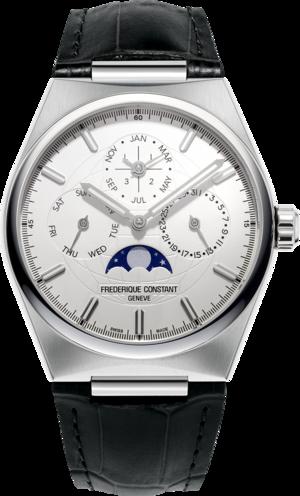 Herrenuhr Frederique Constant Highlife Perpetual Calendar Manufacture 41mm mit silberfarbenem Zifferblatt und Alligatorenleder-Armband