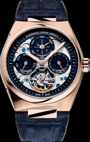 Herrenuhr Frederique Constant Highlife Perpetual Calendar Manufacture 41mm mit blauem Zifferblatt und Alligatorenleder-Armband