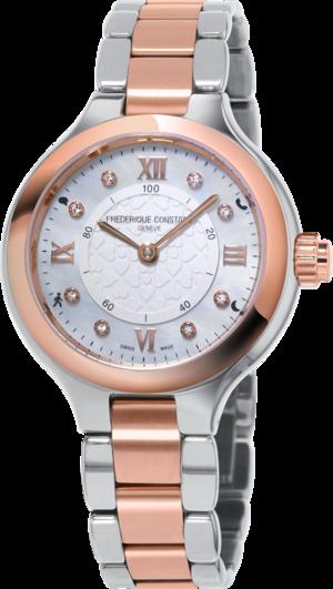 Smartwatch Frederique Constant Horological Smartwatch Delight Notify mit Diamanten, silberfarbenem Zifferblatt und Edelstahlarmband