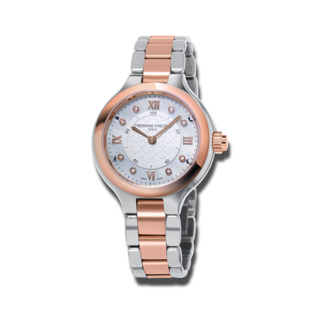 Smartwatch Frederique Constant Horological Smartwatch Delight Notify mit Diamanten, silberfarbenem Zifferblatt und Edelstahlarmband bei Brogle
