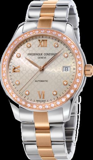 Damenuhr Frederique Constant Ladies Automatic 36mm mit Diamanten, champagnerfarbenem Zifferblatt und Edelstahlarmband