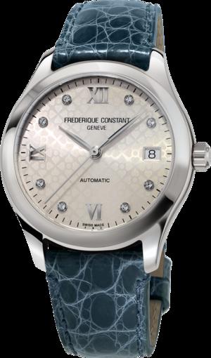 Damenuhr Frederique Constant Ladies Automatic mit Diamanten, champagnerfarbenem Zifferblatt und Alligatorenleder-Armband