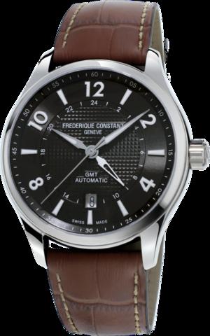 Herrenuhr Frederique Constant Runabout GMT Automatic Limited Edition 42mm mit schwarzem Zifferblatt und Kalbsleder-Armband