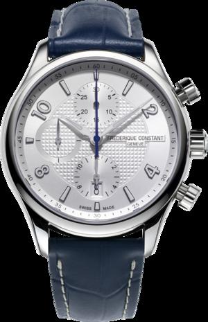 Herrenuhr Frederique Constant Runabout RHS Automatik Chronograph Limited Edition 42mm mit silberfarbenem Zifferblatt und Kalbsleder-Armband