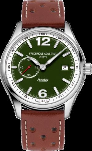 Herrenuhr Frederique Constant Vintage Rally Healey Automatik kleine Sekunde mit grünem Zifferblatt und Kalbsleder-Armband