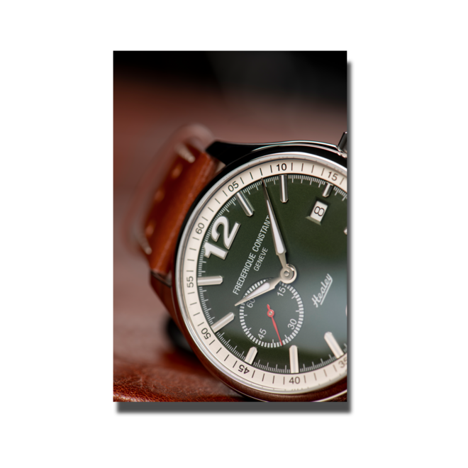 Herrenuhr Frederique Constant Vintage Rally Healey Automatik kleine Sekunde mit grünem Zifferblatt und Kalbsleder-Armband bei Brogle