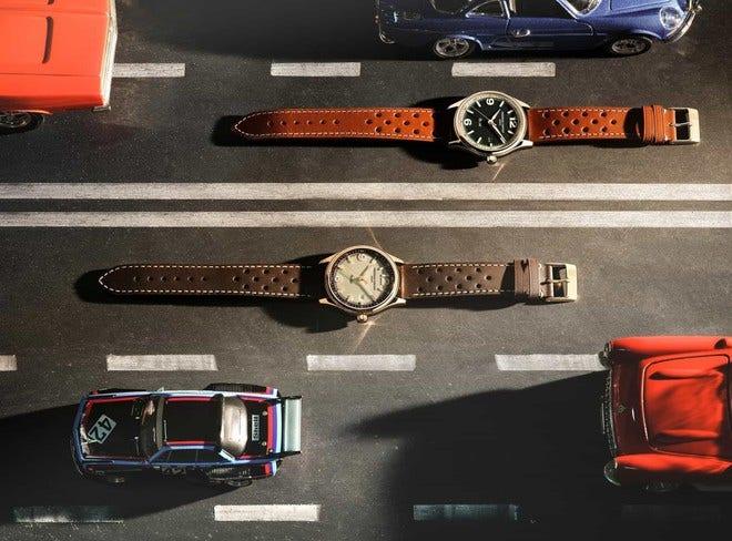 Herrenuhr Frederique Constant Vintage Rally Healey Automatik, Limitierte Edition 40mm mit grünem Zifferblatt und Kalbsleder-Armband bei Brogle