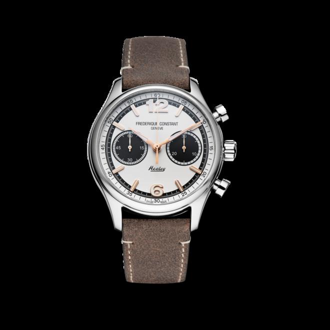 Herrenuhr Frederique Constant Vintage Rally Healey Chronograph Automatic, Limitierte Edition mit silberfarbenem/schwarzem Zifferblatt und Kalbsleder-Armband bei Brogle