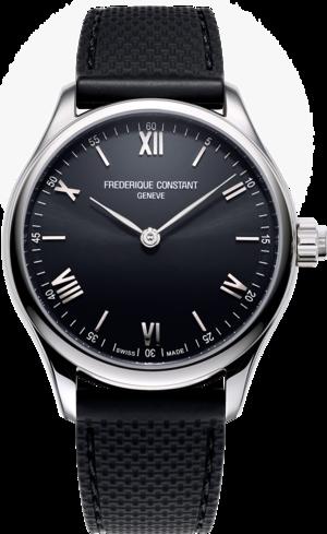 Smartwatch Frederique Constant Smartwatch Gents Vitality 42mm mit schwarzem Zifferblatt und Kautschukarmband